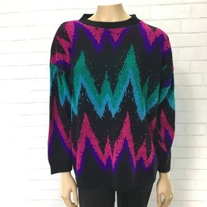 Vintage 90s Zig Zag Pullover Sweater Womens Medium